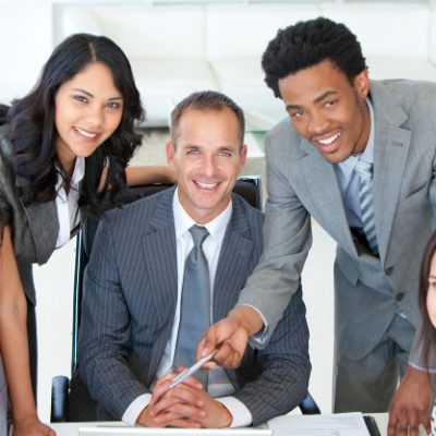 business people working together project